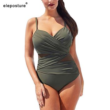 2019 New Sexy One Piece Swimsuit Women Mesh Patchwork Bathing Suits Vintage Swimwear Summer Beach Wear Swim Suit Plus Size M-4XL
