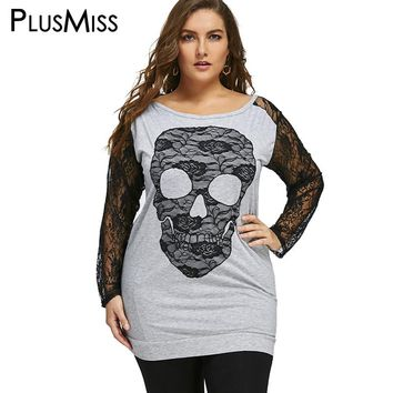 Plus Size 5XL Halloween Skull Print T-shirts Women Clothes Spring Autumn 2017 Lace Long Sleeve Tops Long T Shirt Oversized