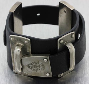 Authentic Gucci Black Leather Pin Buckle Sterling Silver Bracelet w/Box