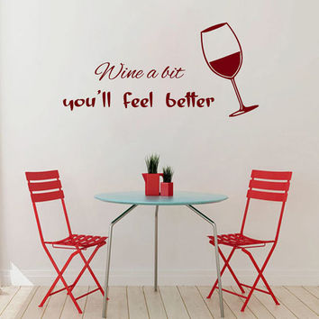 Wine Wall Decals Wall Quotes Glass of Wine Cafe Kitchen Decor Vinyl Sticker Home Decor Kids Vinyl Art Wall Decor Nursery Wall Decor KG246