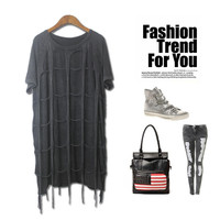 Strong Character Plus Size Vintage Hollow Out Plaid Tassels Cotton Short Sleeve T-shirts [4918280068]