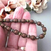 Brown Beaded Choker Necklace 15.5 Inch Rustic Copper Brass Ant. Silver
