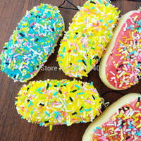 1PCS Colorful Jam&Sprinkles Bread Squishy Charms Cute Soft Cellphone Straps Key Chains
