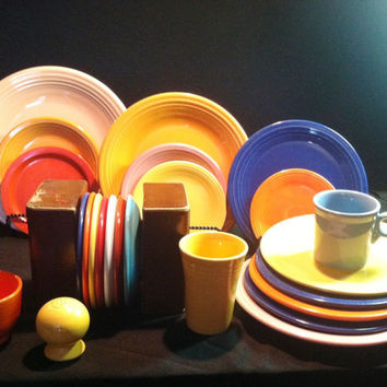 Vintage 24 Pieces of Fiesta Ware-Circa 1930's and More Recent--More Pieces, Same Price!!