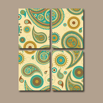 PAISLEY Wall Art Canvas Flower Bedroom Decor Flower Turquoise Brown Tan Bathroom Flourish Floral Set of 4 Prints Bedding Shower Curtain