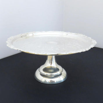 Vintage silverplated wedding cake stand with ornate border on pedestal by Sheridan - Sheridan silver cake stand