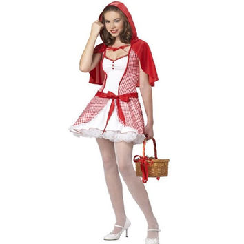 California Costumes Teen Red Riding Hood w/Cape Halloween Costume, Medium, Red