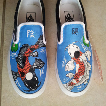 Custom Painted Yin-Yang Koi Fish Slip-On Vans