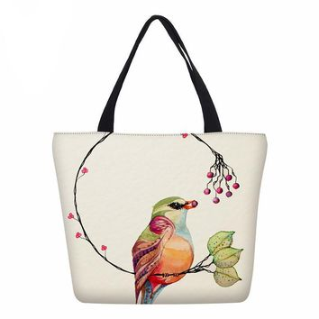 New Designer Women Handbags Water color Flowers Ladies Tote Handbag 3D Birds Printed Girls Bookbags Fashion Shoulder Bag
