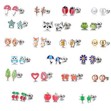 AUGUAU 21 Pairs Stainless Steel Mixed Color Cute Animals Fox Heart Star Ladybug Bee Frog Mushroom Tree Daisy Umbrella Rose Gold White Pearl Stud Earrings Set (animal tree pearl)
