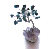 Miniature Gem Tree Sculpture with Turquoise Leaves on Amethyst Crystal Base