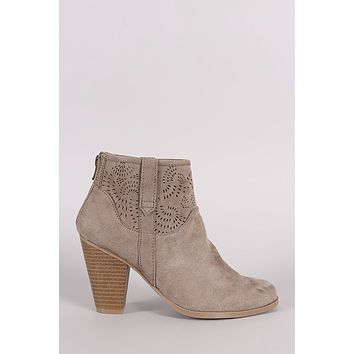 0a01ff267ab1 Qupid Perforated Patterned Chunky Heeled Booties