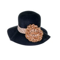 Simplicity Old Style Straw Hat with Polka Dot Band and Flower, Holiday Gift
