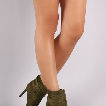 Breckelle Suede Pointy Toe Lace Up Ankle Boots