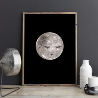 Full moon poster, Bedroom art PRINTABLE, Bedroom wall art, Bedroom wall decor, Moon art print, Dorm decorations Cute posters Cute room decor