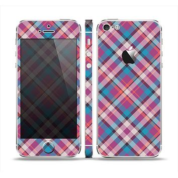 The Striped Vintage Pink & Blue Plaid Skin Set for the Apple iPhone 5