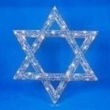 "36"" Oversized Lighted Star of David Hanukkah Window Silhouette Decoration"