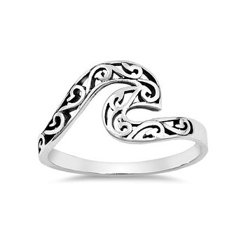 Sterling Silver Filigree Ocean Wave Ring