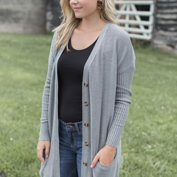 Button Up Cardigan, Heather Grey