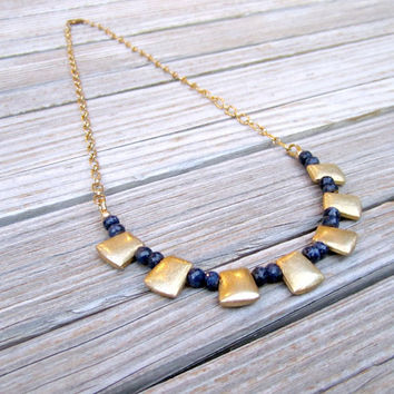 Navy Blue Sapphire Necklace Brushed Gold Jewelry Gemstone Jewellery Bead Bar September Birthstone Link Chain N-113