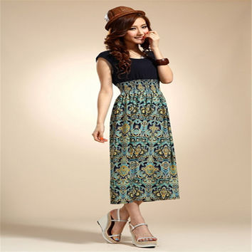 Fabulous 1X Lady Womens Summer Flower Print Bohemia Sleeveless Vest Maxi Long Dress 5.06