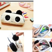 HuaYang Cute Plush Panda Pencil Phone Card Case Cosmetic Makeup Bag Pouch Purse