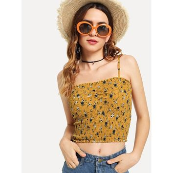 Smocked Floral Cami Top