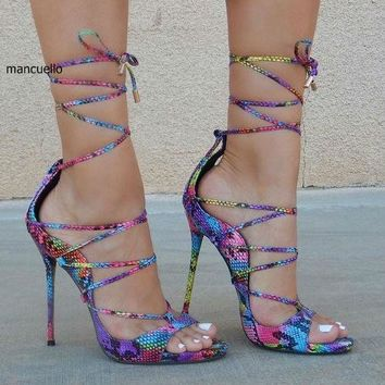 Fancy Women Colorful Snakeskin Cross Strap Rope Style Stiletto Heels Dress Sandals Sexy Peep Toe Lace Up Sandals New Arrival