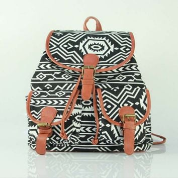 Cute Geometry Large College Backpacks for School Bag Canvas Daypack Travel Bag