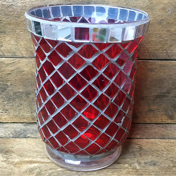 """Red Mosaic Candle Holder / Vase 6"""" H"""