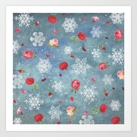 Snow and Roses Art Print by Paula Belle Flores