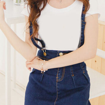 High Waist Dungaree Dress