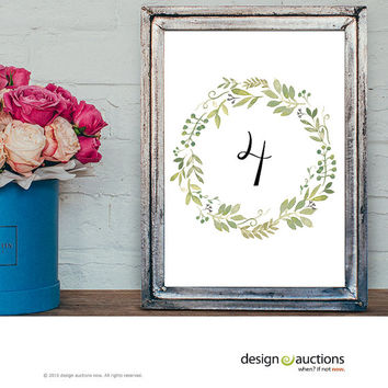wedding table numbers 1-20 instant download watercolor leaf wreath wedding party signage printable business signs floral printable signage