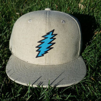 Lightweight Khaki Hemp / Blue Bolt Snapback Hat