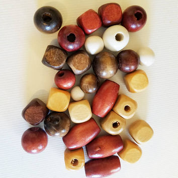 30 big wooden beads wood beads lot brown beige white macrame beads round ball beads barrel oval beads assorted mix #supply3011