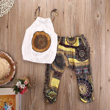 Summer 2PCS Kids Baby Girls Floral Vest Top Shorts Pants Set Clothes Girls Clothing Sets Summer Casual Fashion Clothes