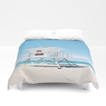 Lifeguard tower Carlsbad 35 Duvet Cover by sylviacookphotography