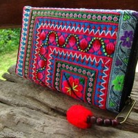 Details about Hill Tribe Neon Cotton Embroidered Flower Ethnic Wallet Purse Hippie Ibiza Gift