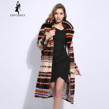 2018 Winter Imported mink fur coat Long Style New Design Mink Coats Loose natural mink fur coats