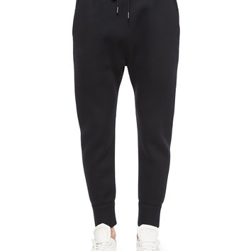 Basic Fleece Track Pants, Black, Size: