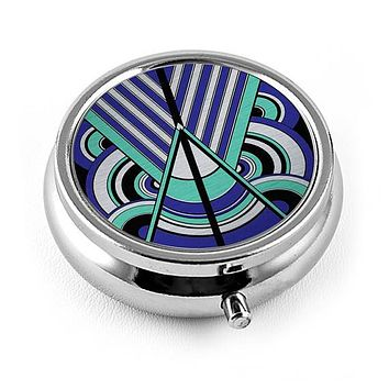 Art Deco Triangles and Circles Pill Box in Blue and Sea Green