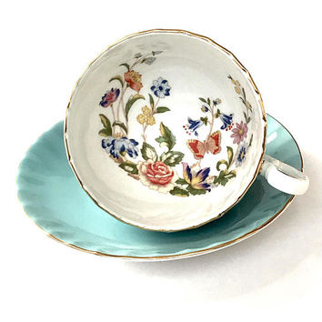 Aynsley Turquoise Cottage Garden Tea Cup, Oban Shape, Gold Gilt, English Bone China, Vintage Tea Cup And Saucer, 1970s, Wedding Gift