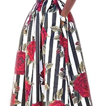 Women's Sexy Two-Piece Floral Print Pockets Long Party Skirts Dress S-XL