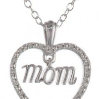 "Silver Dangling Mom Diamond Pendant Necklace, 18"" (0.06cttw, I-J Color, I2 Clarity)"