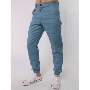 Zipper Fly Beads Embellished Chino Jogger Pants - Light Blue 3xl