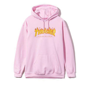 Thrasher Fashion Print Drawstring Long Sleeve Top Sweater Pullover Sweatshirt Hoodie