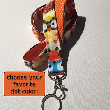 Lanyard  ID Badge Holder - Lobster clasp and key ring - design your own - Owl natural - orange pin dots - two toned double sided