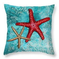 "Sea Shore Original Coastal Painting Colorful Starfish Art by Megan Duncanson 14"" x 14"" Throw Pillow for Sale by Megan Duncanson"