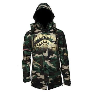 Sprayground   Gold Stencil Shark Camo Parka Jacket   Green / Gold