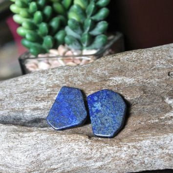 x2 Lapis Lazuli Stone Beads, side drilled gemstone jewelry making supplies for wire wrapping and beading